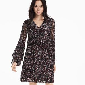 WHBM Chiffon Boho Dress Dble-Layered Bell Sleeves